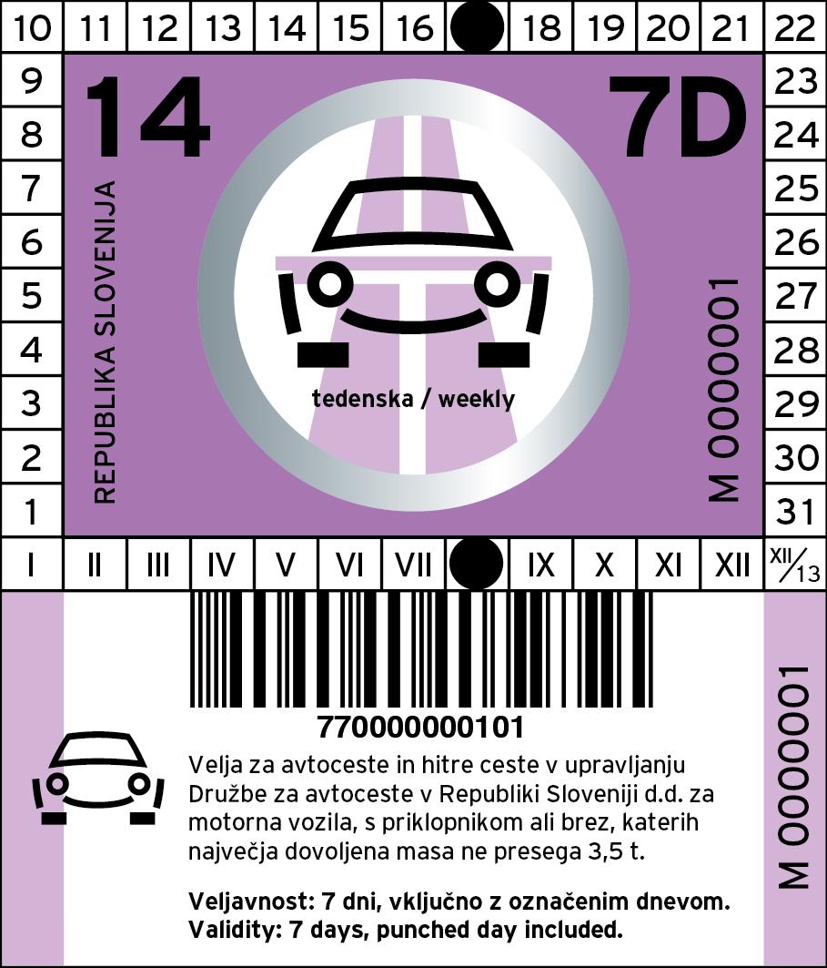 Vignetta autostrada 2014 Slovenia